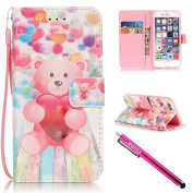 iPhone 6S Case, iPhone 6 Wallet Case, Firefish [Kickstand] Design [Card/Cash Slots] Premium PU Leather Wallet Flip Cover with Wrist Strap for Apple iPhone 6/6S 12cm -Bear