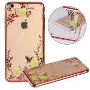 iPhone 7 Plus Case,PHEZEN Clear Soft TPU Protective Case Cover with Butterfly Floral Bling Crystal Rhinestone Diamond Plating Rose Gold Frame Silicone Gel Back Case for iPhone 7 Plus, Yellow Flower