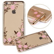 iPhone 7 Plus Case,PHEZEN Clear Soft TPU Protective Case Back Cover with Butterfly Floral Bling Crystal Rhinestone Diamonds Plating Gold Frame Silicone Gel Back Case for iPhone 7 Plus, Pink Flower