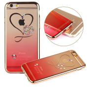 iPhone 7 Plus Case,PHEZEN Clear Soft TPU Protective Case Back Cover with Mini Love Heart Bling Crystal Rhinestone Diamonds Plating Gold Frame Silicone Gel Back Case for iPhone 7 Plus, Red Heart