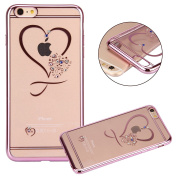 iPhone 7 Case,PHEZEN Clear Soft TPU Protective Case Back Cover with Mini Love Heart Bling Crystal Rhinestone Diamonds Plating Rose Gold Frame Silicone Gel Back Case for iPhone 7, Love Heart