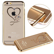 iPhone 7 Case,PHEZEN Clear Soft TPU Protective Case Back Cover with Mini Love Heart Bling Crystal Rhinestone Diamonds Plating Gold Frame Silicone Gel Back Case for iPhone 7, Love Heart