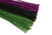 HALLOWEEN Set of 75 Metallic Tinsel Pipe Cleaners for Kids Crafts, Embellishing and Group Projects