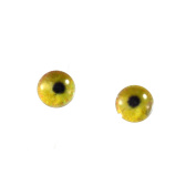 6mm Small Yellow Flamingo Glass Eyes Doll Irises for Art Polymer Clay Taxidermy Sculptures or Jewellery Making Set of 2
