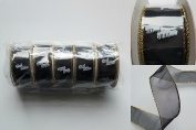Wired Ribbon - Black with Gold Trim - 5 roll pack - 3.8cm x 10 yards