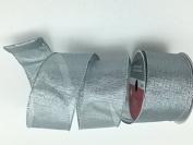 Celebrate IT- Ribbon Bow-tique- Christmas silver -Wired Plaid linen ribbon 6.4cm x 7.6m