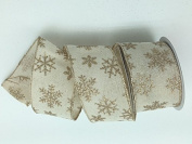 Celebrate IT- Ribbon Bow-tique-Christmas snowflake linen-Wired Plaid linen ribbon 6.4cm x 7.6m
