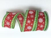 Celebrate IT- Ribbon Bow-tique- Christmas snowflake -Wired Plaid linen ribbon 6.4cm x 7.6m