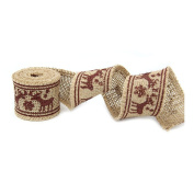 PIXNOR Elk Style Burlap Craft Ribbon for DIY Crafts Home Wedding Christmas Decoration