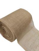 "Hepburn's 12"" Natural Optional Fringe Top Burlap Roll - 50 Yards -28x28mm Eco-Friendly Jute Burlap Fabric"