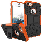 iPhone 7 Case,ARSUE Shockproof Dual Layer Hybrid Armour Defender Protective Case Cover with Kickstand for Apple iPhone 7 (2016) - Orange