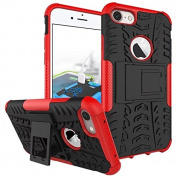 iPhone 7 Case,ARSUE Shockproof Dual Layer Hybrid Armour Defender Protective Case Cover with Kickstand for Apple iPhone 7 (2016) - Red