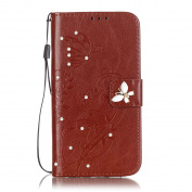iPhone 7 Plus Case, ARSUE Premium Vintage Emboss Butterfly Flower PU Leather Wallet Case with Card Slots & Stand Flip Cover for Apple iPhone 7 Plus 2016