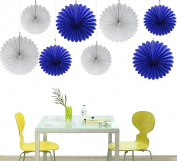 Zorpia® Tissue Paper Fan Collection - Assorted Fans of 10, 41cm , 8 Pieces, Assorted Colours ...
