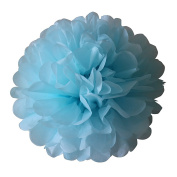 BSET TRADE Pom Poms -5Pcs of 20cm Blue Tissue Paper Flowers Pom Poms Wedding Decor Party Decor Pom Pom Flowers Pom Poms Craft Pom Poms Decoration