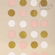 Ling's moment Paper Circle Garland, Circle Hanging Decorations for Wedding, Baby Shower, Festival Items & Party Props - Gold Glitter+Pink+White