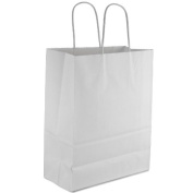 "Royal 25 Pcs 10x 5"" x 33cm Kraft White Paper Handle Shopping Gift Merchandise Carry Retail Bags Shopping Bag"