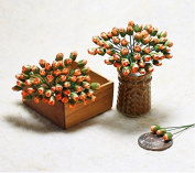 50 Orange Rose Mulberry Paper Flower Scrapbook Craft 5mm Card Wedding Dollhouse