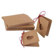 PIXNOR Card Tags Kraft Paper Tags with Rope Hollow Heart Shape Label Tags for Wedding Birthday Decoration, Pack of 50
