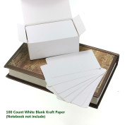 Akak Store 100 Pieces 9 x 5.4 cm White Kraft Paper Card Double-sided Available Blank Kraft Cardboard Word Card Message Card DIY Blank Gift Card
