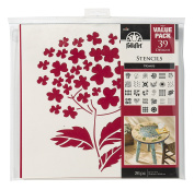 FolkArt Paper Stencil, 30cm by 30cm , 38962E Flowers Value Pack