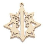 Laser Cut Wood Ornament, Star with Angels, Set of 10