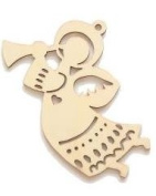 Laser Cut Wood Angel Ornaments, Unfinished Set of 10