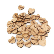 ROSENICE 50pcs Wooden Hearts Scrapbooking Embellishments Crafts with Wood Grain