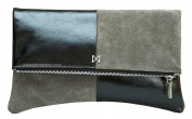 """Pietra"" Colorblock Suede & Leather Clutch, Butter-soft, Suede & Leather, Nickel Zipper. Grey/Black."