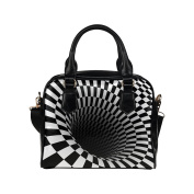 Artsadd Women Bag Chequered Vortex 3D Shoulder Handbag Tote Bag