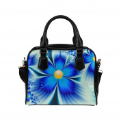 Artsadd Women Bag Beautiful Blue Flowers Digital Art Shoulder Handbag Tote Bag