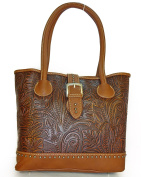 Trinity Ranch Concealed Carry, Large Everyday Tote w/ Leather Front - G Brown