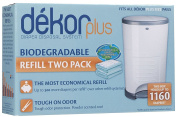 This set includes 2 refill packs for the Nappy Dekor Plus. Each refill holds about 580 newborn or 350 large nappies.