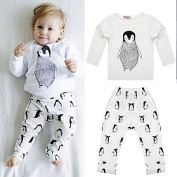 Zopho(TM) BS#S New Baby Boy Clothes Infant Clothes Cotton Penguin Printed Long Sleeve T-shirt and Pants 2pcs Suit Baby Girl Clothing Sets