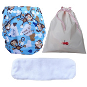 Bamboo Charcoal Baby Cloth Nappies,Bamboo Fibre Inserts and Waterproof Portable Bag 3in1