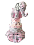 Pink and Grey Plaid Elephant Baby Shower Nappy Cake