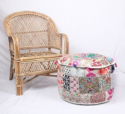 NANDNANDINI - Beautiful Christmas Decorative Bohemian Ottoman Patchwork Ottoman Indian Embroidered Indian Vintage Cotton Round Pouffe Foot Stool , Vintage Patch Work Ottoman