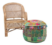 NANDNANDINI -Beautiful Christmas Decorative Vintage Patchwork Green Bohemian Indian Pouffe Large Round Ottoman Seat Pouffe