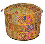 beautiful Christmas Vintage Ottoman , Indian Vintage Ottoman Embellished with Embroidery & Patchwork Foot Stool Floor Cushion Cover, bohemian ottoman , round ottoman , 60cm X 33cm