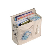 BUYITNOW Bedside Storage Bag 6 Pockets Oxford Fabric Magazines Phone Tissue Hanging Organiser Beige