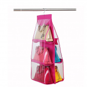 BUYITNOW 6 Pockets Handbag Storage Bag Clear Non-woven Fabrics Closet Hanging Pouch Rose Red