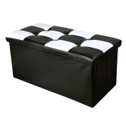 RuiL Faux Leather Folding Storage Ottoman Black Versatile Space-saving Bench Foot Rest Stool Seat Toy Chest Tunk 80cm L x 38cm W x 38cm H