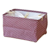 Fieans Collapsible Cotton and Linen Stripe Folding Boxes Organising Baskets Storage Box-Purple
