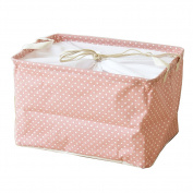 Fieans Collapsible Cotton and Linen Stripe Folding Boxes Organising Baskets Storage Box-Pink