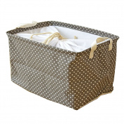 Fieans Collapsible Cotton and Linen Stripe Folding Boxes Organising Baskets Storage Box-Brwon