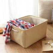 Jute Collapsible Storage Bin,HoDecor Storage Basket with Handles for Clothing / Toy