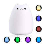 S & G night light Cute Smile Cat Silicon LED Desk Lamp with 7 Changing Colour for Baby Bedroom Office- Warm White