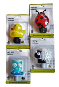 Nursery Baby Animal Night Lights, Ladybug, Sheep, Duck and Owl, 4-pc Set