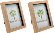 Nicola Spring Light Wood Effect 5x7 Box Photo Frame - Standing & Hanging - Pack of 2