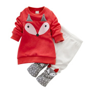 EFINNY Baby Girl's Cartoon Fox Sweatshirt Thick Velvet Pant Suits Clothing Set